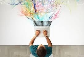 Creative man at computer