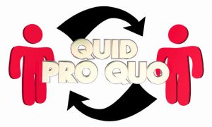 Quid Pro Quo Two People Mutual Trade Benefits
