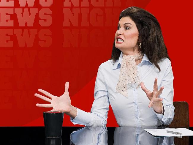 gesturing woman