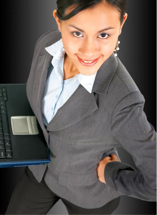 Confident Woman Holding Laptop Computer