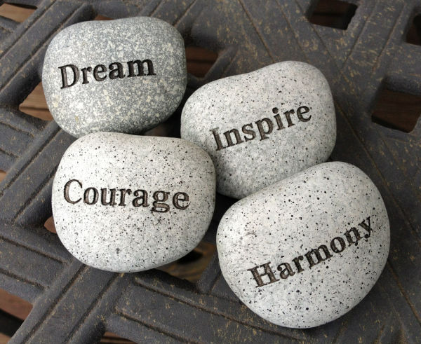 Stones Etched with Inspiring Words